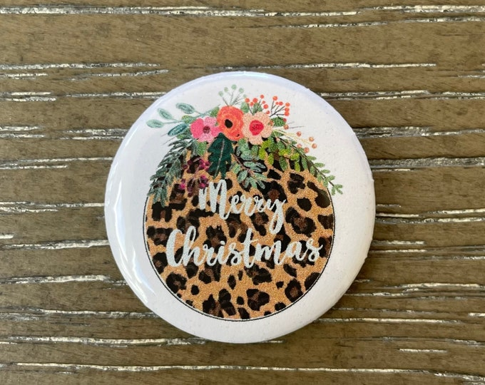 Merry Leopard Christmas Holiday Needle Minder Magnet --Gift or Stocking Stuffer for Stitchers