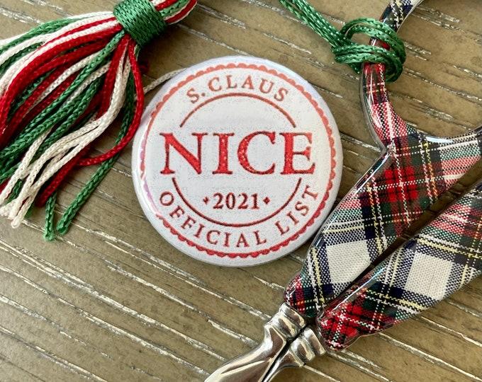 Santa's Nice List Holiday Needle Minder Magnet --Gift or Stocking Stuffer for Stitchers