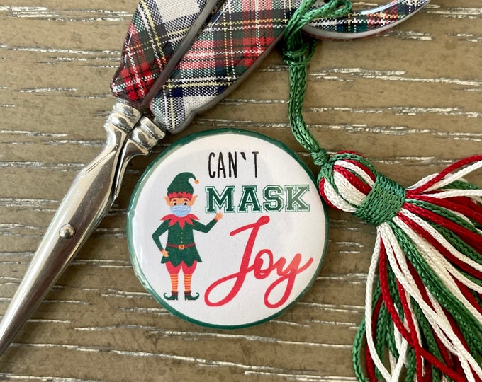 Can't Mask Joy Holiday Needle Minder Magnet --Gift or Stocking Stuffer for Stitchers