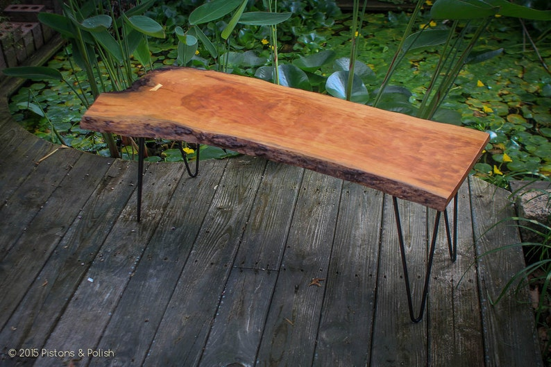 SOLD 44 Solid Cherry Live Edge Coffee Table  Hairpin image 0