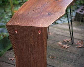 SOLD!! RESERVED for PIAMA -- Unique Red Elm Waterfall Coffee Table with Copper Accents - Mid-Century Hairpin Legs - Live Edge Slab Table