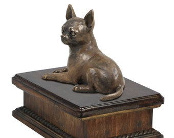 Exclusive Urn for dog's ashes with a Chihuahua statue, ART-DOG. New model Cremation box, Custom urn.