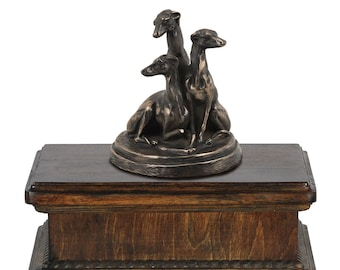 Exclusive Urn for dog's ashes with a Whippets statue, ART-DOG. New model Cremation box, Custom urn.