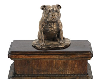 Exclusive Urn for dog's ashes with a Staffordshire Bull Terrier statue, ART-DOG. New model Cremation box, Custom urn.