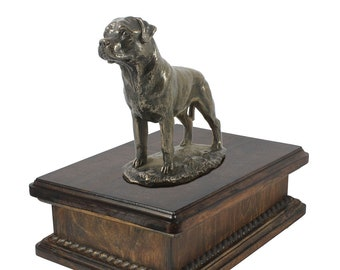 Exclusive Urn for dog's ashes with a Rottweiler with tail statue, ART-DOG. New model Cremation box, Custom urn.