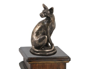 Exclusive Urn for cat's ashes with a Egyptian Cat statue, ART-DOG. New model Cremation box, Custom urn.