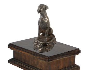 Exclusive Urn for dog's ashes with a Boxer sitting statue, ART-DOG. New model Cremation box, Custom urn.