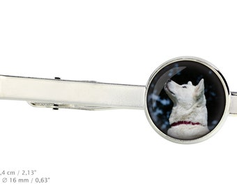 Akita Inu. Tie clip for dog lovers. Photo jewellery. Men's jewellery. Handmade