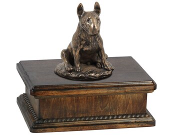 Exclusive Urn for dog's ashes with a Bull Terrier sitting statue, ART-DOG. New model Cremation box, Custom urn.