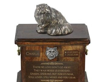 Persian Cat - Exclusive Urn for cat ashes with a statue, relief and inscription. ART-DOG. Cremation box, Custom urn.