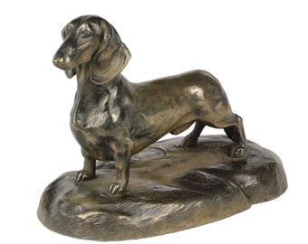 Dachshund wirehaired, dog wooden base statue, limited edition, ArtDog