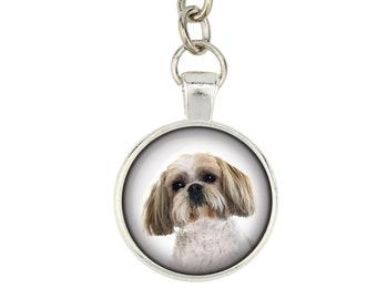 Shih Tzu. Keyring, keychain for dog lovers. Photo jewellery. Men's jewellery. Handmade.