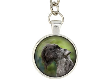 Kerry Blue Terrier. Keyring, keychain for dog lovers. Photo jewellery. Men's jewellery. Handmade.