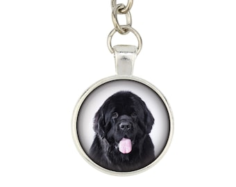 Newfoundland. Keyring, keychain for dog lovers. Photo jewellery. Men's jewellery. Handmade.