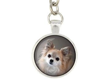 Chihuahua long haired. Keyring, keychain for dog lovers. Photo jewellery. Men's jewellery. Handmade.
