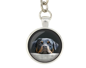 Rottweiler. Keyring, keychain for dog lovers. Photo jewellery. Men's jewellery. Handmade.