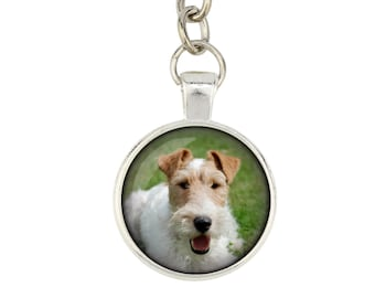 Fox Terrier. Keyring, keychain for dog lovers. Photo jewellery. Men's jewellery. Handmade.