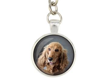 English Cocker Spaniel. Keyring, keychain for dog lovers. Photo jewellery. Men's jewellery. Handmade.