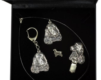 NEW, English Cocker Spaniel, dog keyring, necklace, pin and clipring in casket, DELUXE set, limited edition, ArtDog