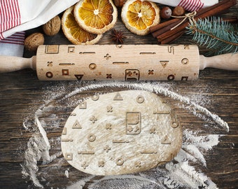 GAMEBOY. Engraved rolling pin for Cookies, Embossing Rollingpin, Laser Engraved Rolling-pin. Decorating Roller