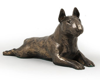 Bull Terrier (lying), dog wooden base statue, limited edition, ArtDog