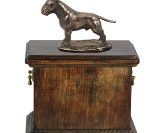 Urn for dog's ashes with a Bull Terrier cropped statue, ART-DOG Cremation box, Custom urn.