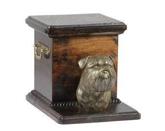 Urn for dog's ashes with a standing statue -Brussels Griffon, ART-DOG Cremation box, Custom urn.
