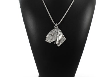 NEW, Bedlington Terrier, dog necklace, silver chain 925, limited edition, ArtDog