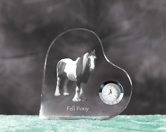 Fell pony- crystal clock in the shape of a heart with the image of a pure-bred horse.