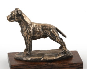 American Staffordshire Terrier (uncropped), dog wooden base statue, limited edition, ArtDog