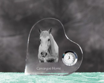 Camargue horse- crystal clock in the shape of a heart with the image of a pure-bred horse.