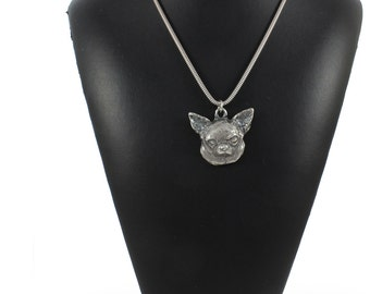 Chihuahua (smooth haired), dog necklace, silver cord 925, limited edition, ArtDog