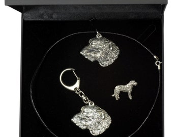 NEW, Irish Wolfhound, dog keyring, necklace and pin in casket, DELUXE set, limited edition, ArtDog . Dog keyring for dog lovers