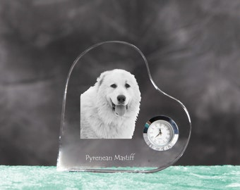Pyrenean Mastiff- crystal clock in the shape of a heart with the image of a pure-bred dog.