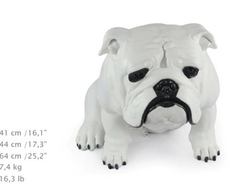 English British Bulldog, white, dog natural size statue, limited edition, ArtDog