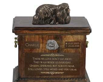 Pekingese - Exclusive Urn for dog ashes with a statue, relief and inscription. ART-DOG. Cremation box, Custom urn.