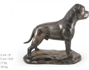 Staffordshire Terrier, exclusive dog on base base statue, limited edition, ArtDog