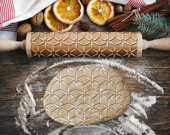 MOSAIC 2. Engraved rolling pin for Cookies, Embossing Rollingpin, Laser Engraved Rolling-pin. Decorating Roller