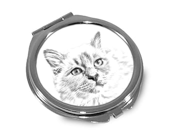 Birman- Pocket mirror with the image of a cat.