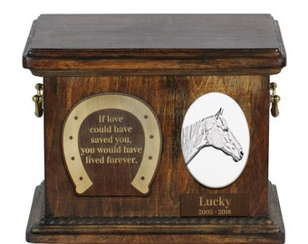Urn for horse ashes with ceramic plate and sentence - Retired Race Horse, ART-DOG. Cremation box, Custom urn.