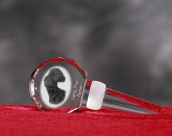 Kerry Blue Terrier, Crystal Wine Stopper with Dog, Wine and Dog Lovers, High Quality, Exceptional Gift. NEW COLLECTION