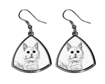 Turkish Van, collection of earrings with images of purebred cats, unique gift. Collection!