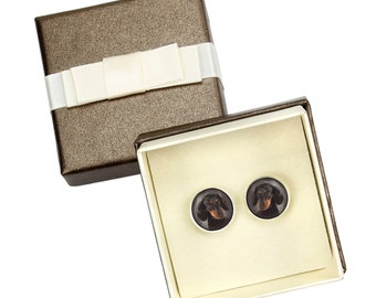Dachshund smooth. Cufflinks with box for dog lovers. Photo jewellery. Men's jewellery. Handmade