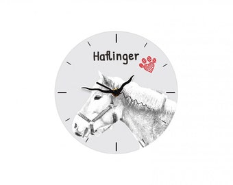 Haflinger, Free standing MDF floor clock with an image of a horse.