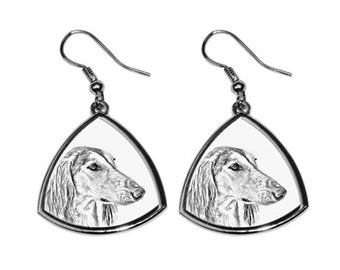 Saluki - NEW collection of earrings with images of purebred dogs, unique gift