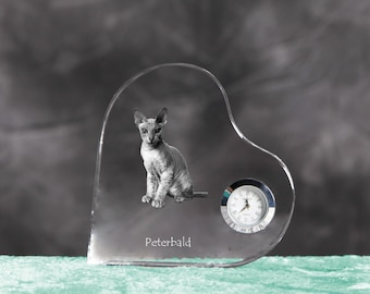 Peterbald- crystal clock in the shape of a heart with the image of a pure-bred cat.
