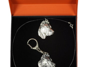 NEW, Presa Canario, Perro de Presa Canario, dog keyring and necklace in casket, PRESTIGE set, limited edition, ArtDog
