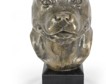 Stafforshire Terrier, dog statue on marble base, limited edition, ArtDog. Made of cold cast bronze. Perfect gift. Limited edition