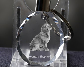 Pyrenean Shepherd   , Dog Crystal Keyring, Keychain, High Quality, Exceptional Gift . Dog keyring for dog lovers