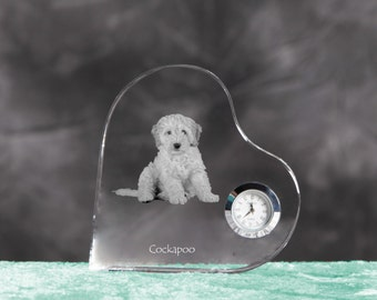 Cockapoo- crystal clock in the shape of a heart with the image of a pure-bred dog.